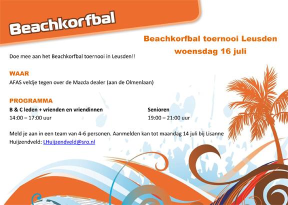 Beachkorfbal toernooi